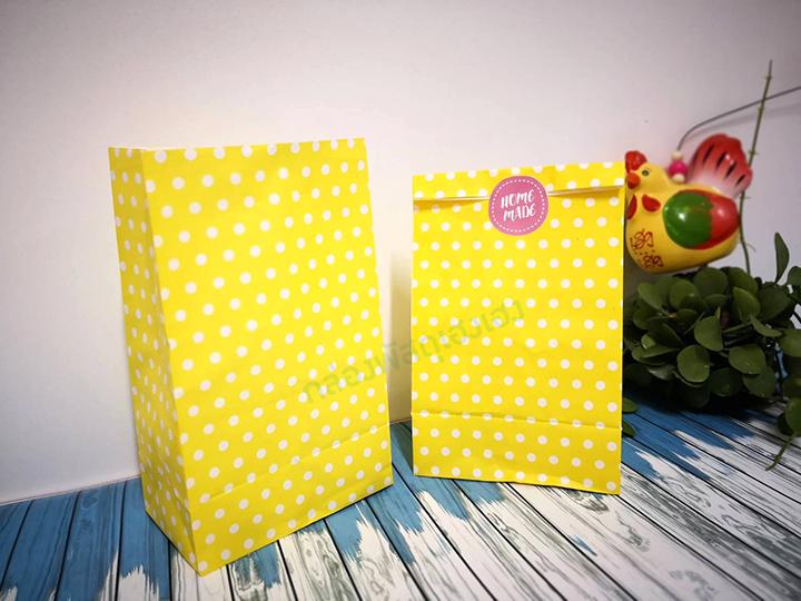 ถุงกระดาษขาว พื้นเหลือง 13x8x21.7 cm.