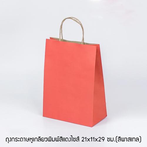 ถุงกระดาษหูเกลียวพิมพ์สีแดง 21x11x29 ซม.(สีพาสเทล)