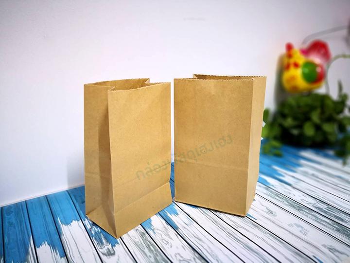 ถุงกระดาษพับข้าง สีน้ำตาล 14.6x9x27 cm.
